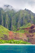 picture of na  - View on Na Pali Coast on Kauai island on Hawaii in a cloudy day - JPG