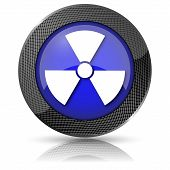 pic of radium  - Shiny glossy icon with white design on blue background - JPG