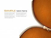 Brown leather texture background with zipper. Vector illustration