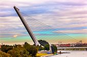 image of calatrava  - Alamillo Bridge Puente de Alamillo River Guadalquivr Morning Cityscape Seville Andalusia Spain - JPG