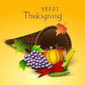 Happy Thanksgiving Day celebration concept with fruits, vegetables and cone shape wooden basket on yellow background, can be use as flyer, banner or poster.