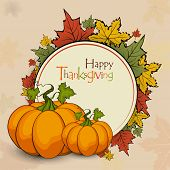 Vintage Happy Thanksgiving Day celebration concept with pumpkin, autumn leaves and space for your message.