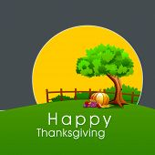 Happy Thanksgiving celebration poster, banner or flyer with fruits and vegetables under the tree, nature concept.