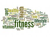 High resolution concept or conceptual abstract fitness word cloud or wordcloud on white background