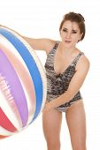 Woman Swimsuit Big Ball Lean Forward