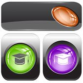 Graduation cap. Internet buttons. Raster illustration.