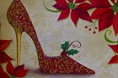 Red High Heel Shoe Christmas Background