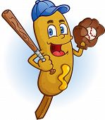 picture of hitter  - A smiling corn dog baseball player cartoon character with a bat - JPG