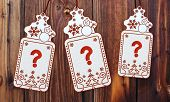 Three Christmas Cards With Question Sticker