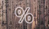 Wooden Percent Symbol With Presents