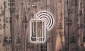 Wooden Smart Phone Symbol With Presents