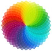 image of color wheel  - Color wheel background with transparent overlapping segments - JPG