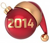 Christmas ball 2014 New Year bauble red gold decoration Santa hat icon
