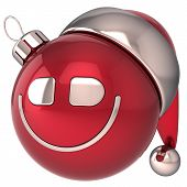 Christmas ball smiling New Year bauble happy smiley Santa hat smile face icon decoration