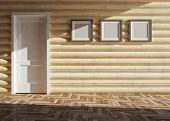 foto of chalet interior  - modern blank interior of wooden house  - JPG