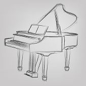 Vector sketched Piano