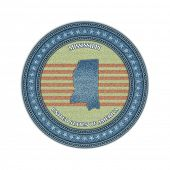 Label with map of mississippi. Denim style. Vector eps 10