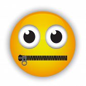 picture of character traits  - Cartoon emoticon with a mouth fastened with a zipper - JPG