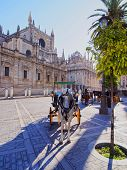 Carriages In Front Of The Cathedral Of Seville, Spain