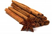Pile Of Cinnamon Sticks With Star-anise