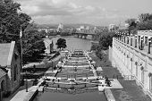Rideau Canal and Ottawa city view in black and white