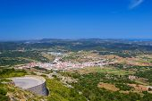 Es mercadal town viewed from Monte Toro mountain at Menorca island, Spain.