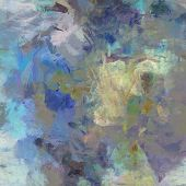 art abstract acrylic blue background with beige and violet blots