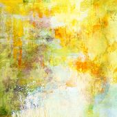 art abstract acrylic background in yellow, light green and white colors