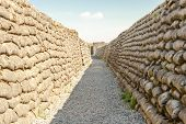 foto of sandbag  - Trenches of death world war one sandbags in Belgium - JPG