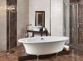 Interior Bathroom With Tub And Shower