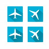 vector flat airplane icon set.