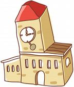 A vector illustration of facade of a building with clock tower
