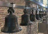 Collection Of Bells Hangs In Ghent Belfry, Belgium.
