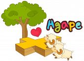 A vector illustration of lambs and a cross, agape means brotherly love