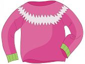 A vector illustration of pink knitted sweater