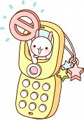 A vector illustration of mobile phone with cute character holding a nil sign