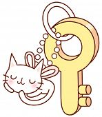A vector illustration of a cat key chain and key
