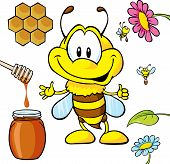 image of bee cartoon  - funny bee cartoon with honey spoon honeycomb leaf and flower - JPG