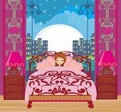 A Beautiful Girl Sleeping In Bedroom