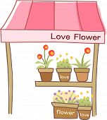 Vector illustration of a flower store