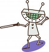 Vector illustration of a violent robot