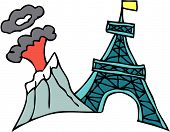 Vector illustration of a volcano next to Eiffel tower