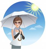 Cute Woman Holding Sunshade Umbrella Under Strong Sunlight