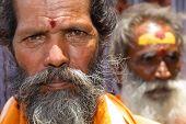 Vijayawada, India -June 09: Holy Sadhu men with traditional painted face, at Kanakadurga temple in V