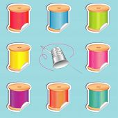 Needle And Threads Stickers, Thimble, Summer Beach Colors