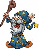 Cartoon wizard. Vector clip art illustration with simple gradients. All in a single layer.