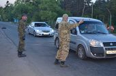 KIEV, UKRAINE - MAY 1, 2014  Checking the transport in the road to Kiev Checkpoint of paramilitary r