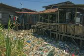 KOTA KINABALU, MALAYSIA - APRIL 26 2014: Pollution in shanty town. Photo showing environmental probl