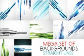 Vector mega collection of straight lines backgrounds. Design templates for your projects