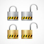 Vector locked and unlocked padlock set